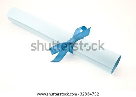 Diploma with blue ribbon - stock photo