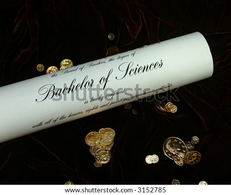 Diploma with Coins and Velvet Background