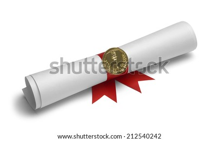 Diploma with Torch Medal and Red Ribbon Isolated on White Background. - stock photo