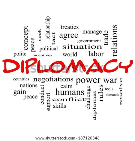 Diplomacy Word Cloud Concept in red caps with great terms such as world, peace, negotiations and more.