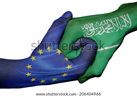 Diplomatic handshake between countries: flags of European Union and Saudi Arabia overprinted the two hands - stock photo