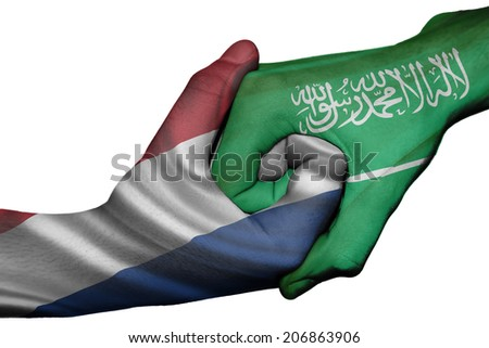 Diplomatic handshake between countries: flags of Netherlands and Saudi Arabia overprinted the two hands - stock photo
