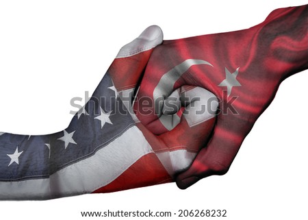 Diplomatic handshake between countries: flags of United States and Turkey overprinted the two hands