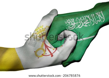 Diplomatic handshake between countries: flags of Vatican City and Saudi Arabia overprinted the two hands - stock photo
