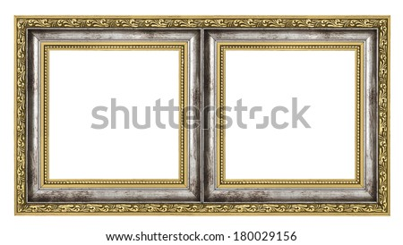 diptych isolated on pure white background - stock photo