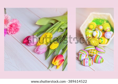 Diptych of spring flowers and easter decorations - stock photo