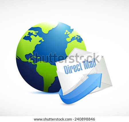 direct mail globe illustration design over a white background
