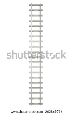 Direct railway isolated on white background, top view. 3d illustration high resolution - stock photo