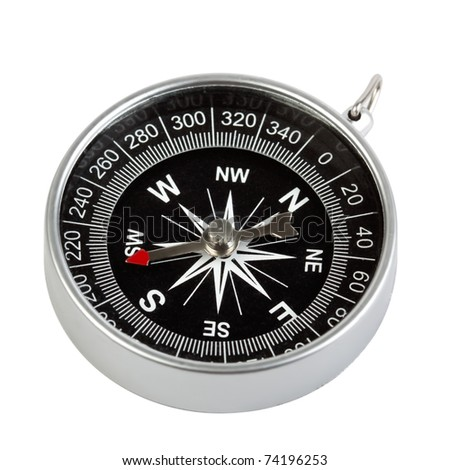 Direction and navigation concept - compass isolated on white background - stock photo
