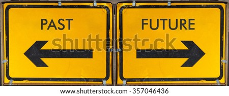 Direction arrow sign, back arrow meaning past, forward arrow meaning future, black over yellow background - stock photo