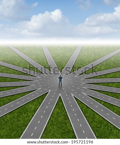 Direction choices and career decisions with a businessman standing in the center of a group of roads going in different paths as a business metaphor for government bureaucracy guidance for success. - stock photo
