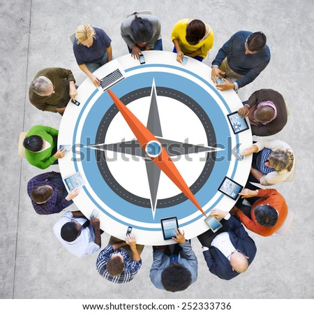 Direction Compass Longitude Latitude Brainstorming Concept - stock photo