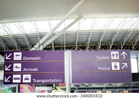 Direction icons. Domestic, arrivals, toilets, police. Interior of airport terminal.