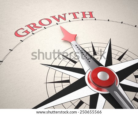 Direction of Growth, Compass concept, 3d render - stock photo