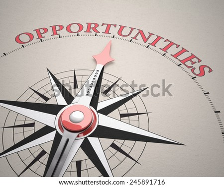 Direction of Opportunities, Compass concept, 3d render - stock photo