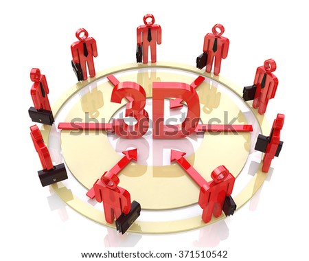 Direction of the business to 3d at registration information associated with new technologies - stock photo