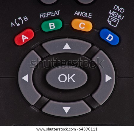 Direction Pad on Satellite Remote Control - stock photo