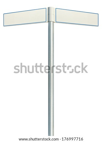 Direction road signs, two empty blank signpost signages, isolated directional roadside guidepost pointer white copy space, blue frame, light grey pole post - stock photo