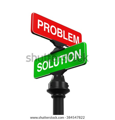 Direction Sign of Problem and Solution - stock photo