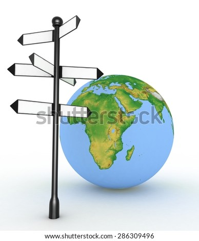 Direction sign with empty arrows and globe on white background - stock photo