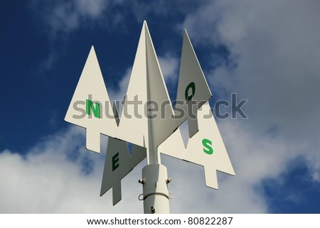 Direction signpost showing the compass points North,South,West and East against a cloudy blue sky. - stock photo