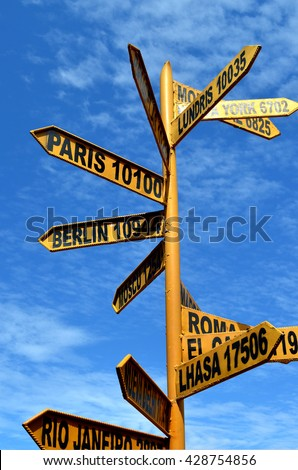 Direction signpost with distance to many different countries on the Taquile Island, Lake Titicaca, Peru - stock photo