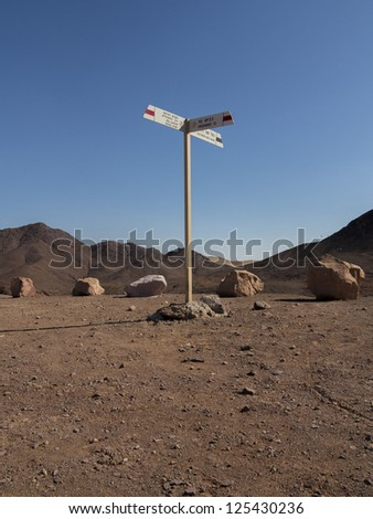 Direction signs for hikers Red Canyon in the Arava Desert - stock photo