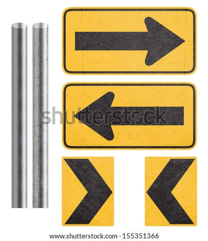 direction yellow sign with metal bar, isolated in white with clipping path. - stock photo
