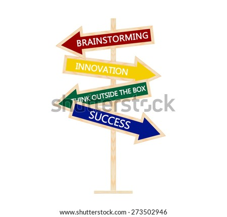Directional Arrows (Brainstorming, Innovation, Think Outside the Box, Success) Isolated on white background - stock photo
