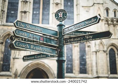 Directional Sign at York City, United Kingdom - stock photo