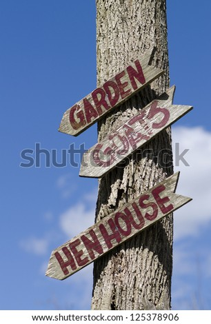 Directional signpost at an educational farm - stock photo