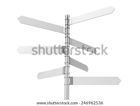 Directional signpost. 3d illustration isolated on white background - stock photo