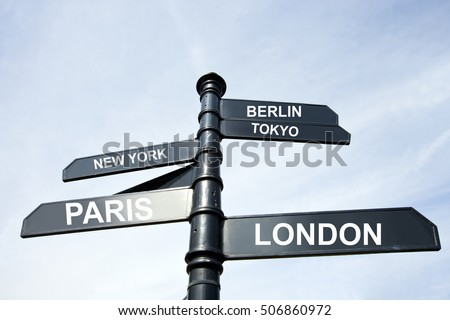 Directions to many famous cities in the world