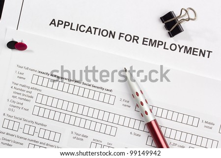 Directly above photograph of a job application. - stock photo