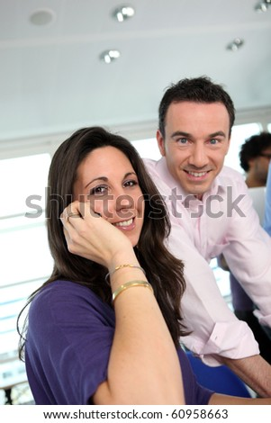 Director and his assistant - stock photo
