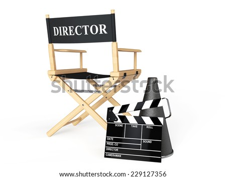 director chair movie clapper and megaphone on a white background