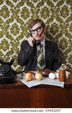Director is having a lunch break - stock photo