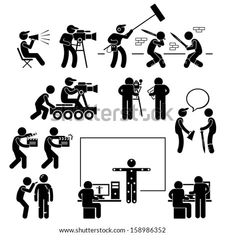 Director Making Filming Movie Production Actor Stick Figure Pictogram Icon - stock photo