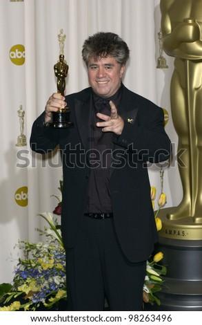 Director PEDRO ALMODOVAR at the 75th Academy Awards at the Kodak Theatre, Hollywood, California. March 23, 2003 - stock photo