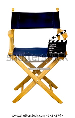 Director's chair with clapboard isolated on white background with clipping path. - stock photo