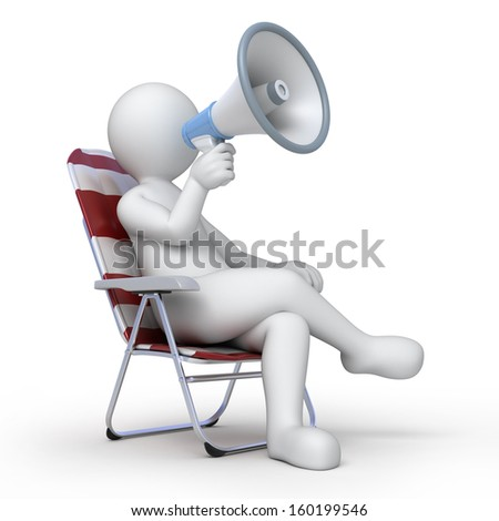 director with a loud-speaker - stock photo