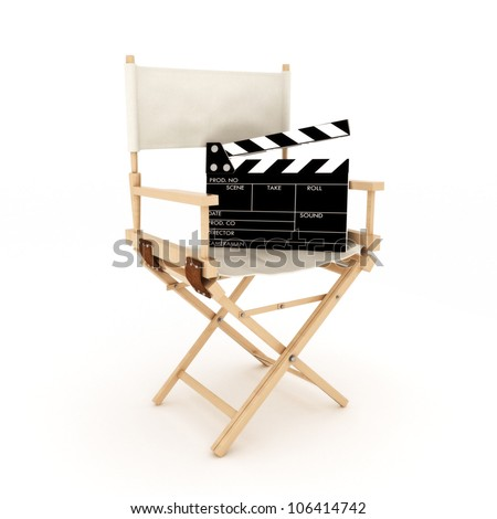 Directors chair with clapper - stock photo