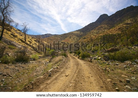 Dirt and gravel road winds into the mountains of the Sequoia National WIlderness. - stock photo
