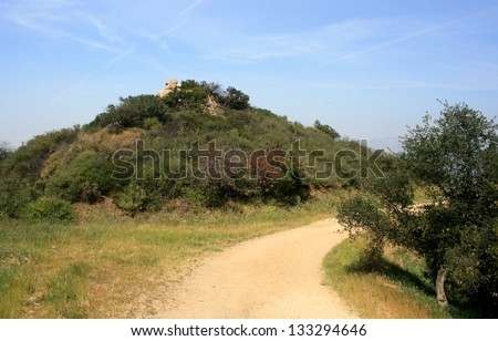 Dirt path through the hills of Griffith Park, California - stock photo