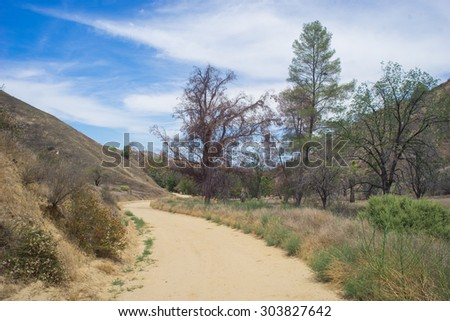 Dirt Road in California Wilderness winds through forest and scrub brush. - stock photo