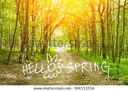 Dirt road in spring green forest  with discription Hello Spring - stock photo