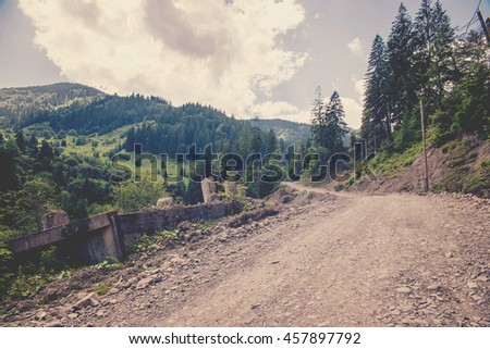 dirt road in the Carpathian Mountains in Ukraine