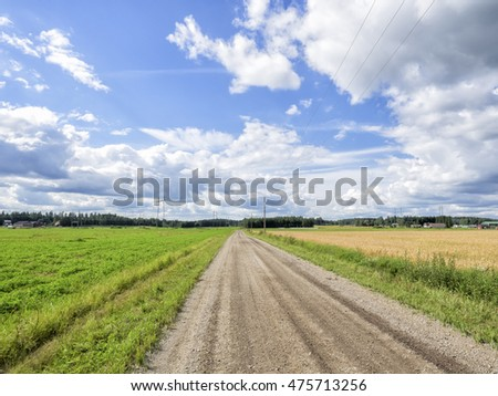 Dirt road in the Finnish countryside