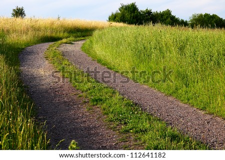 Dirt road on a field in a sunny evening, to right and left cornfield, summer, by Beckingen, Saarland/Germany - stock photo