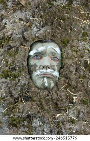 dirty acarus man a dust allergy concept - stock photo
